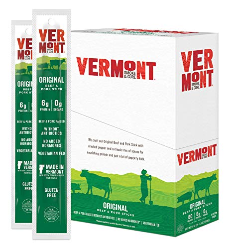 Vermont Smoke and Cure Jerky Sticks - Antibiotic Free Beef & Pork Sticks - Gluten Free - Great Keto Snack -High in Protein & Low Sugar - Original Flavor -1oz Jerky Stick (Pack of 24)