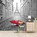 Papel Pintado Pared 200X150cm Paraguas Rojo Torre Eiffel Papel Pintado De Pared Diseño De Paisaje Mural 3D Decoración Pared Impresión Salon Dormitorios Fotomurales