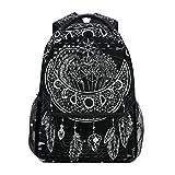 U LIFE Backpack School Bags Laptop Casual Bag for Boys Girls Kids Men Women Black Vintage Moon Sun Mandala Floral Flowers