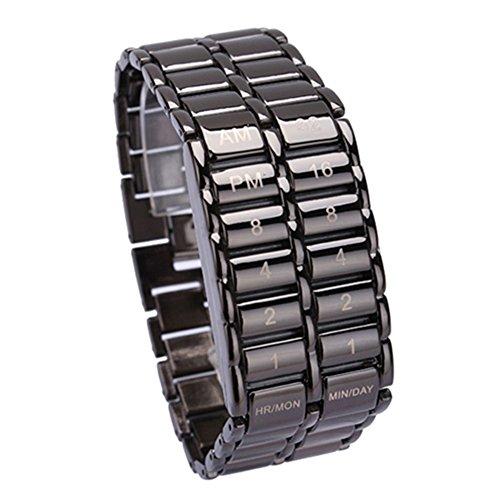 Cutowin - Reloj de pulsera de cuarzo digital con LED binario para hombre, diseño de día del padre, regalo creativo, negro