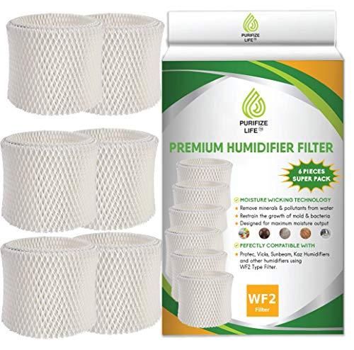 Purifize Life 6 Pack Premium Replacement Wick Filter for Vicks & Kaz WF2 Humidifier V3100, V3500, V3500N, V3600, V3700, V3800, V3850, V3850JUV, V3900, V3900JUV, VEV320, 3020, ECM-250i, ECM-500, WA-8D