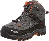 CMP Kids Rigel Mid Trekking Shoe WP, Scarpe da Arrampicata Alta Unisex-Bambini, Grigio (Stone-Orange 78uc), 37 EU