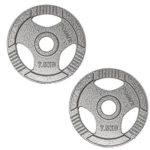 POWRX Dischi Pesi Olimpici 40 kg Set (2 x 20 kg) - Ideali per manubri e bilancieri olimpionici con Braccio da 50 mm (Argento)