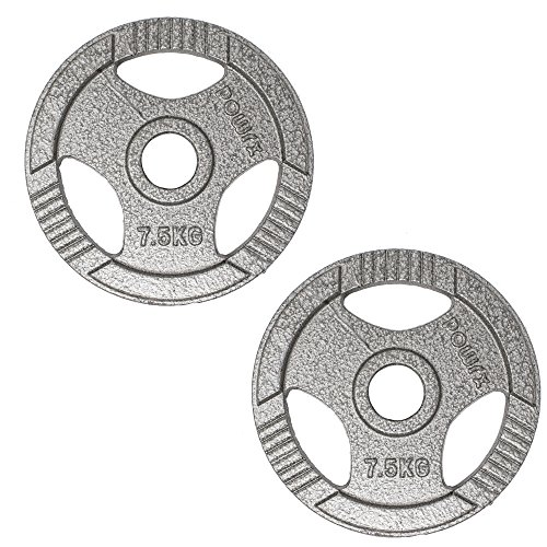 POWRX Dischi Pesi Olimpici 10 kg Set (2 x 5 kg) - Ideali per manubri e bilancieri olimpionici con Braccio da 50 mm (Argento)