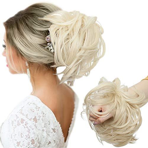 Große Haarteil Haargummi Extensions Messy Bun Dutt Hochsteckfrisuren Voluminös Haarverlängerung mit Gummiband (80G) Gebleichtes Blond