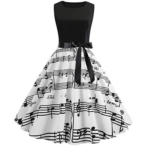 Kleider Damen Neckholder Rockabilly 50er Retro Petticoat Faltenrock Ballkleid Kleiderbügel Kurz Hepburn Kleid/Schwarz,S