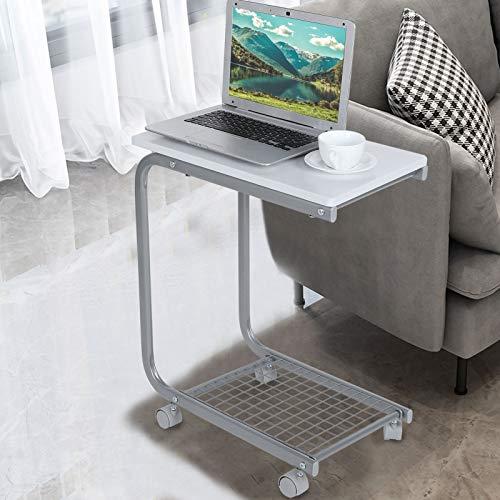 Mesa auxiliar, mesa para ordenador con ruedas, mesa lateral en forma de C, diseño de rejilla inferior para el uso en la oficina en el salón o el hogar, 50 x 30 x 60 cm (blanco)