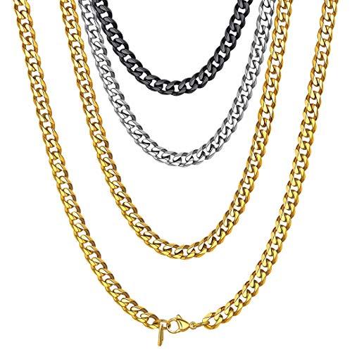 ChainsHouse Girocollo a Catena in Oro Collana a Maglia Cubana da Uomo 6mm Catena in Acciaio Inossidabile da 14 Pollici per Uomo Donna