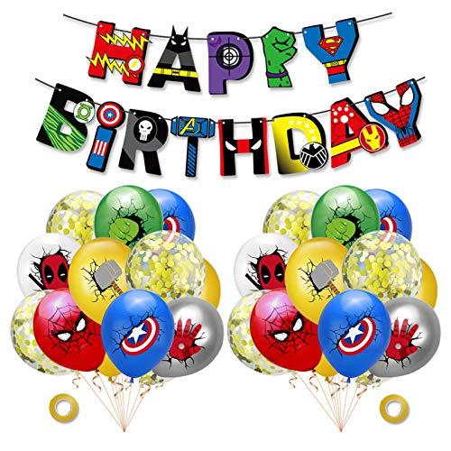 rosepartyh Superhelden Deko Geburtstag Superhelden Luftballons Superheld Alles Gute zum Geburtstag Girlande Avengers Superhero Party Supplies Decorations