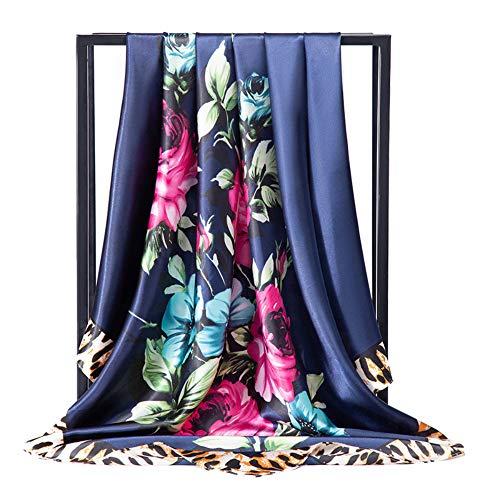 HAIHF sjaals, 90 cm Fashion Rose patroon grote vierkante satijnen sjaal hoofddoek hoofdtooi lichte halsdoek