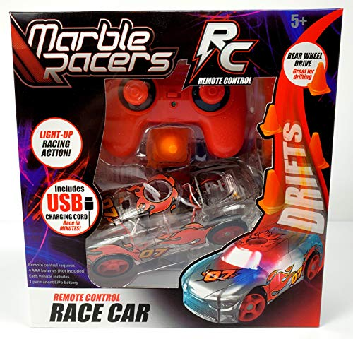 Marble Racers R/C Remote Control Light Up Rechargable Rear-Wheel Drive Race Car with Easy-Turn Technology for Any Hard Surface, Red