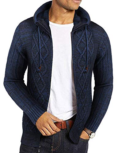 COOFANDY Men's Hooded Knit Sweater Long Sleeve Cardigan with Pockets Navy Blue