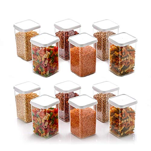 LEAWALL Container Set for Kitchen, Containers for Airtight Plastic Square Container Set for Kitchen Storage 1100ml Containers | Unbreakable & Air-Tight Design | containers Set (Set of 12)