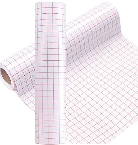 """JH Best Crafts Ultra Clear Vinyl Transfer Paper Tape 12"""" X 10 Feet Roll w/Grid- Good Alignment for Cameo Silhouette Cricut Self Adhesive Vinyl for Decals, Walls, Signs, Windows and Smooth Surfaces"""
