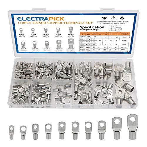 electrapick Rohrkabelschuhe 110 Stücke Verzinntes Kupferklemen Ringkabelschuhe mit 10 Größe, Kupferbatterieanschlüsse Stecker Kabelschuhe