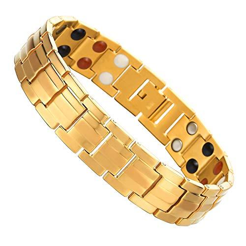 COOLSTEELANDBEYOND Herren Goldfarben Titan Therapy Armband mit Magneten Germanium, Link-Tool zum Entfernen Enthalten