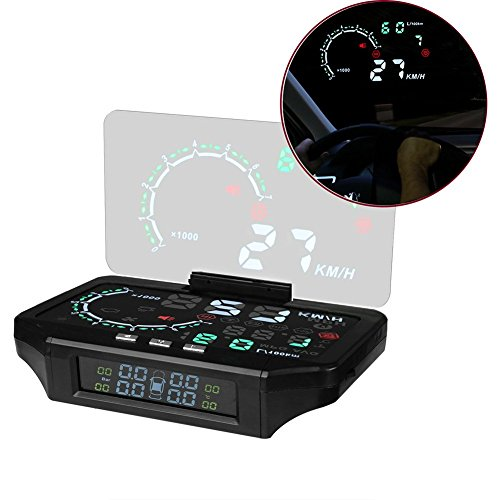 Affichage tête haute de voiture haute définition HUD, surveillance de la pression des pneus et de la voiture, 2 en 1, Projection des couleurs, avertissement de vitesse