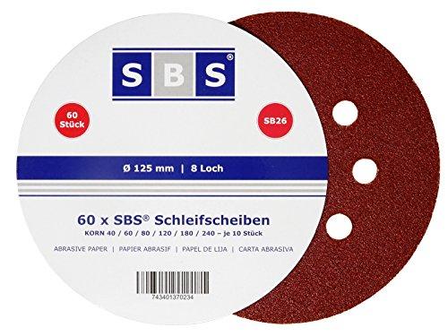 SBS Klett-Schleifscheiben   Ø 125 mm   120 Stück   Körnung je 20 x 40/60/80/120/180/240 für Exzenter-Schleifer 8 Loch