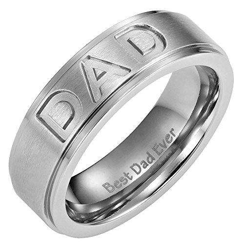 Willis Judd New Mens Titanium DAD Ring Engraved Best Dad Ever with Velvet Ring Box