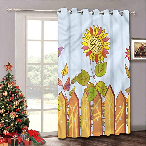 Aishare Store Room Divider Curtain, Vineyard Sunflowers Wood Fences, Window Treatment Drape for Nursery, (W100 x L84 Inch, 1 Panel)