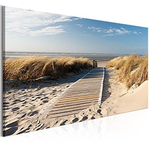 murando - Bilder Strand Meer 100x45 cm Vlies Leinwandbild 1 TLG Kunstdruck modern Wandbilder XXL Wanddekoration Design Wand Bild - Landschaft Sand Himmel Grass Urlaub Wolken Natur c-C-0176-b-a