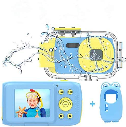 Cámara infantil impermeable Full HD 1080P 8MP subacuática cámara para niños 2.0 pulgadas TFT HD cámara resistente al agua cámara para niños azul