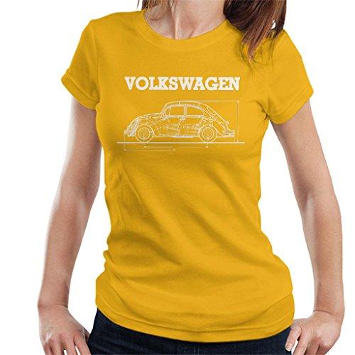 Volkswagen Beetle White Technical Diagram Women's T-Shirt