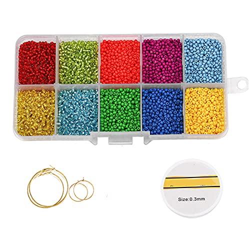 Chytaii - Kit de fabricación de joyas, perlas de rocalla de cristal para la fabricación de joyas, artesanía, decoración de bricolaje, regalo de cumpleaños