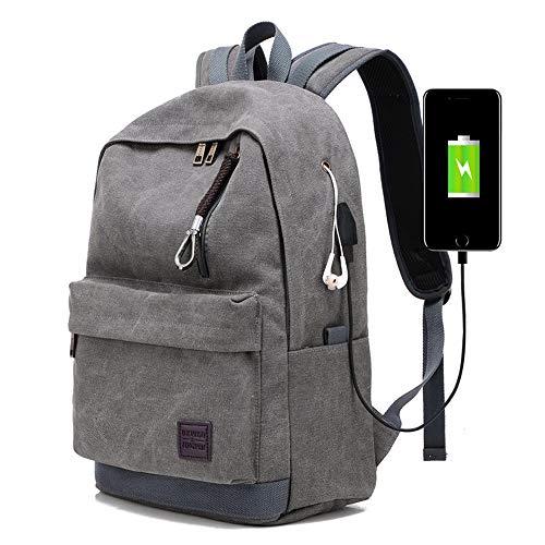 Sac à Dos Voyage,15.6 Pouces Sac à Dos Trekking Homme Femme,avec USB Charging Port Sac à Dos d'affaires Sac à Dos,Adulte Fashion DéContracté Bag College Pack (Noir),Gray