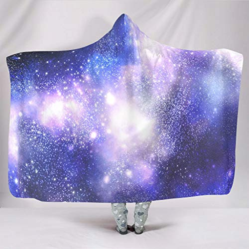 O2ECH-8 Galaxy Mit Kapuze Decke Übergröße Gemustert Schwarze Decke Sherpa Büro Tragen Throws Wrap Robe - Universe Geeignet für Mädchen White 130x150cm
