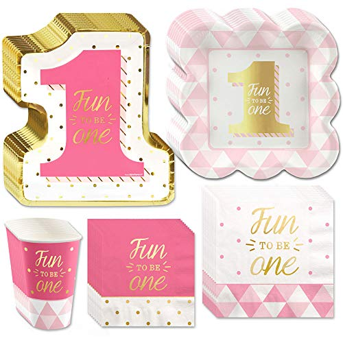 Big Dot of Happiness Fun to be One - 1st Birthday Girl with Gold Foil - Party Tableware Plates, Napkins - Bundle for 32
