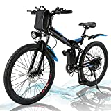 Angotrade 26 inch Electric Bike Folding Mountain E-Bike 21 Speed 36V 8A Lithium Battery Electric Bicycle for Adult (Black)