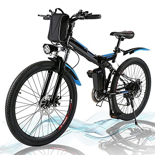 Angotrade 26 inch Electric Bike Folding Mountain E-Bike 21 Speed 36V 8A Lithium Battery Electric...