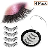 QYPM Dual Magnetic False Eyelashes Fake Lashes - Reusable and Easy to Apply Ultra Thin Magnets, Half-Lash, Natural Look (1 Pack 4pcs)