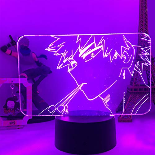 Zhongkaihua Luz de noche 3D Lámpara de dormir Anime 3D LED Luces de noche Bakugou Katsuki Figura de acción Juguetes para niños Iluminación creativa Lámpara de mesa Decoración