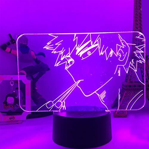 My Hero Academia Figura 3D LED luz nocturna para niños y niñas, anime 3D ilusión lámpara control inteligente multi colores cambiante lámpara de mesa decoración del hogar y la habitación regalos