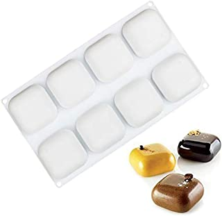 OCPO Silicone Molds for Baking 3D Square Shape for Silicone Mousse Cake Mold Candy Chocolate Fat Bombe Dessert Molds Truffle Pudding Pastry Fruit Jelly Ice Cream Mould, 8-Cavity