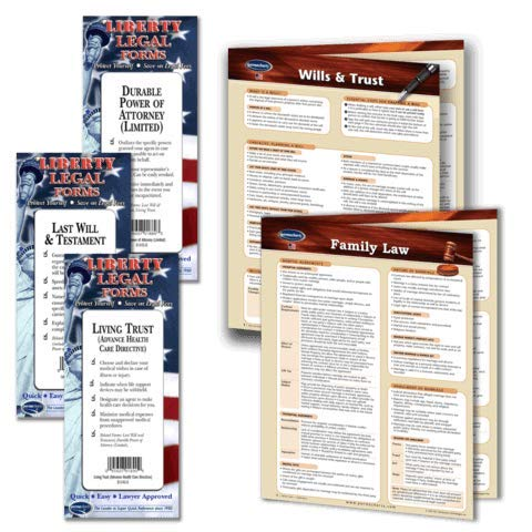 Family Law Legal Planning Kit - Legal Forms (Last Will and Testament, Power of Attorney, Healthcare Directive Forms) & 2 Laminated Legal Reference Guides