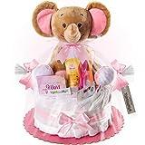 Timfanie® Windeltorte | Spieluhr Elefant | 1-stöckig | zart-rosa |...