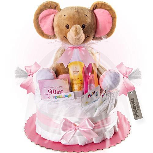 Timfanie® Windeltorte | Spieluhr Elefant | 1-stöckig | zart-rosa | Windeln Gr. 2 (Baby 4-8 Kg)