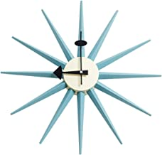 SHISEDECO George Nelson Wall Clock, Decorative Modern Silent Wall Clock for Home, Kitchen,Living Room,Office etc. - Colorful Wooden Mid Century Retro Design(Full Range Available) (Sunburst Clock Blue)