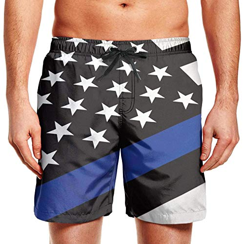 Hunter qiang Tabla de Surf para Hombre Shorts LGBT Bear Pride Flag Swim Trunks con cordón, M