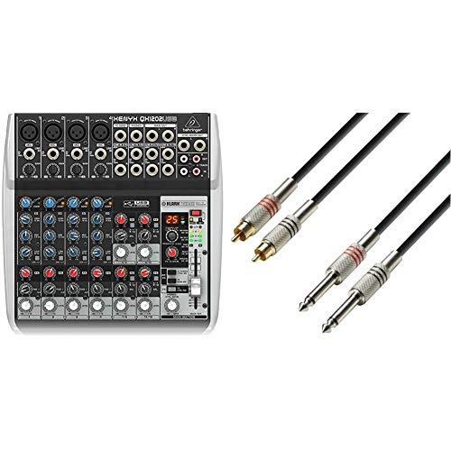 Behringer XENYX QX1202USB mezclador para directo + Adam Hall Cables Adam Hall K3TPC0100Cable RCA a jack (6.3 mm, mono, macho, 1 m)