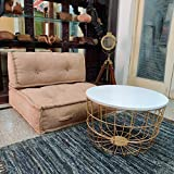 PRITI Golden Round Coffee Table forr Living Room Central Table by Priti Size:-61x61x44 cm