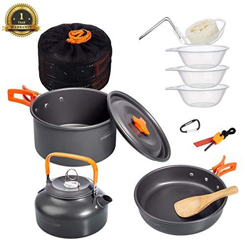 Overmont 11Pcs Kit de Utensilios Cocina Camping Olla Sartén Tetera Vajilla para...
