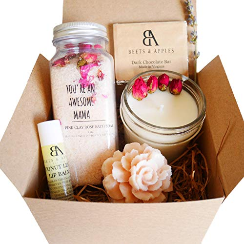 """Mom Gift Ideas, Spa Gift Set, Mom Birthday Gift Set, Spa Gifts Basket for Mom, Relaxation Spa Gift Set""""You are an Awesome Mama"""" Mothers Day Gift Basket Mothers Day Gift Ideas French Rose Set for Mom"""