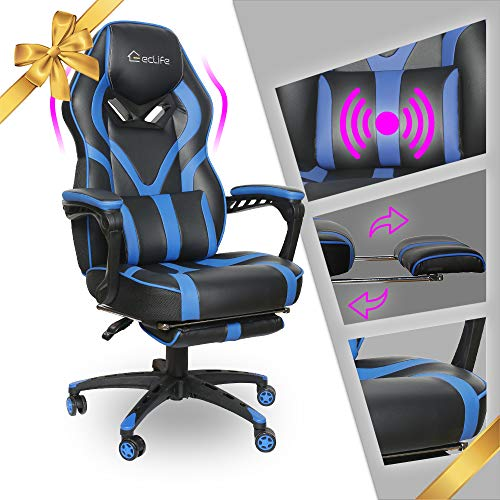 Gaming Chair Racing Footrest Massage Computer - Cushioned Comfort High Back PU Leather USB Vibrator Ergonomic Recliner Home Office Video Game for Kids for Adult for PS5(Blue Massage Leather Mesh)