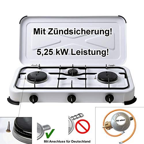 CAGO Camping Gas-Kocher 3-flammig mit Zündsicherung 50 mbar Weiss inkl. Gasschlauch 100cm und Gasdruckregler 50mbar