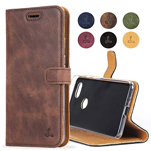 Snakehive Google Pixel 3a Case, Genuine Leather Wallet with Viewing Stand and Card Slots, Flip Cover Gift Boxed and Handmade in Europe for Google Pixel 3a (Brown)