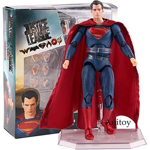 KSB-toy Figura de acción de la Justicia Liga Superman PVC Medicom Juguete MAFEX No.057 Figura de acción de colección Juegos de construcción for el Muchacho de 16 cm Decoración (Color : with Box)